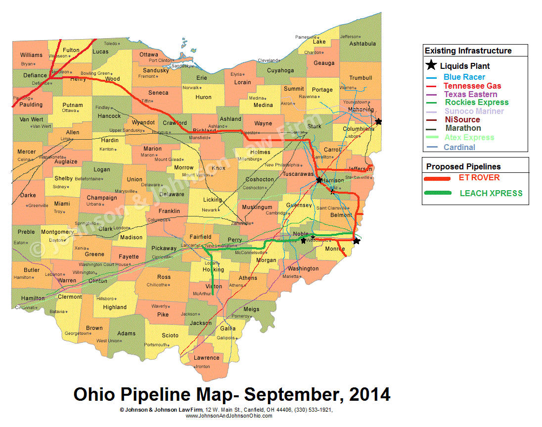 Ohio Pipeline Map and Proposed ET Rover and Leach XPress Routes